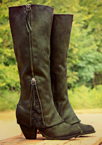 New Women Army Green Round Toe Chunky Zipper Lace Stitching Fashion Boots