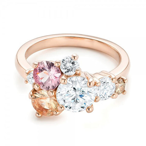 Sweet Gold Plated Colorful Zircon Ring Engagement Ring for Women