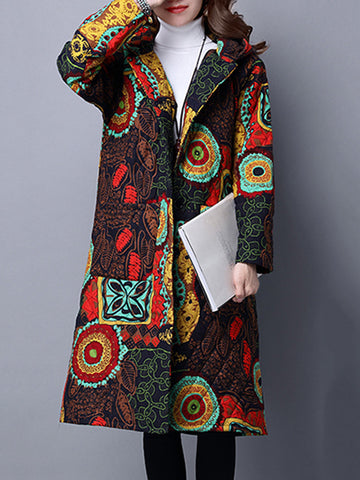 Folk Style Women Printed Long Sleeve Hooded Long Coat