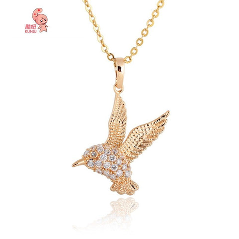 Animal Gold Flying Eagle Pendant Necklace