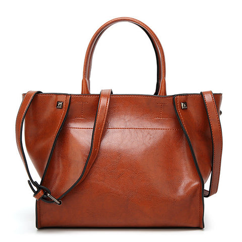 Women Retro PU Leather Handbag Large Capacity Shoulder Bags
