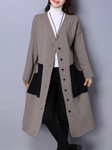 Casual Car Pattern Patchwork Thicken Long Sleeve Women Coats