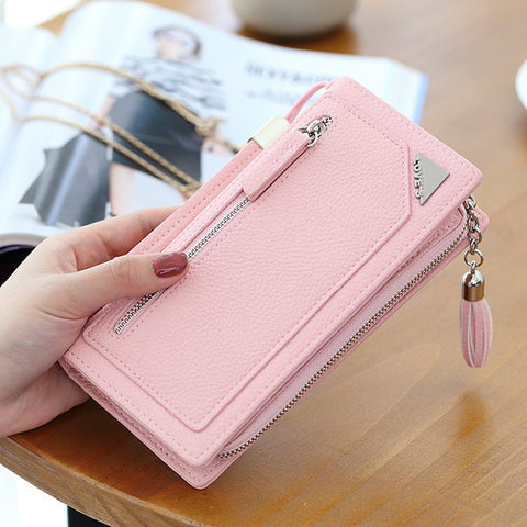 Stylish PU Leather Candy Color Long Wallet Purse For Women