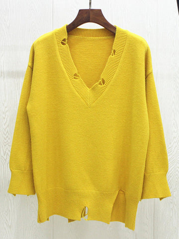 Brief Solid Color V-Neck Long Sleeve Women Sweaters