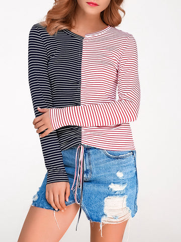 Women Stripe Patchwork V-neck Long Sleeve T-shirts