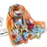 LYZA 180CM Thin Soft Warm Long Scarf Shawl Scarves Painting Flower Style For Women