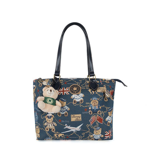 DANNY BEAR Cute Cartoon Bear Printed Tote Handbag Shoulder Bags For Women