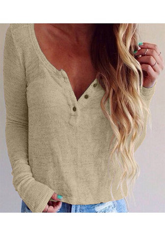 Beige Plain Buttons V-neck Casual Cotton Pullover Sweater