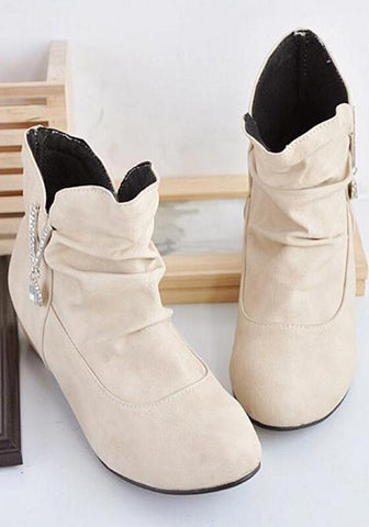 Beige Round Toe Mid Crystal Casual Suede Boots