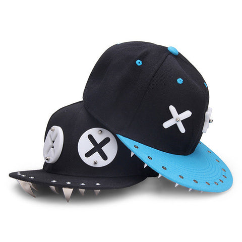 Cut Cartoon XX Eyes Pattern Rivet Hip-Hop Hat Flat Snapback Baseball Cap
