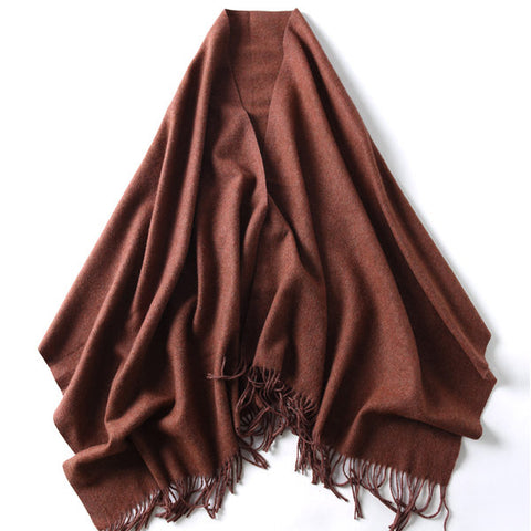 LYZA 200CM Winter Scarf For Women Wool Thermal Scarf Pure Color Large Size Scarf and Shawl Dual Use