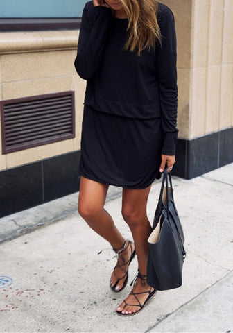 Black Plain False 2-in-1 Round Neck Long Sleeve Mini Dress