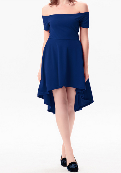 c5771a41a2f5 Cheap Royal Blue Off-Shoulder High-low Boat Neck A-Line Swallowtail Short  Sleeve Skate Dress Online – loverchic.com