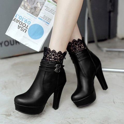 New Women Black Round Toe Chunky Lace Stitching Fashion Ankle Boots