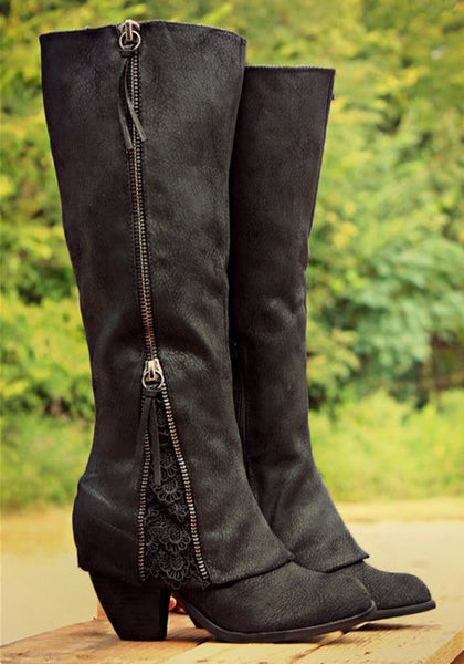 New Women Black Round Toe Chunky Lace Stitching Zipper Casual Mid-Calf Boots