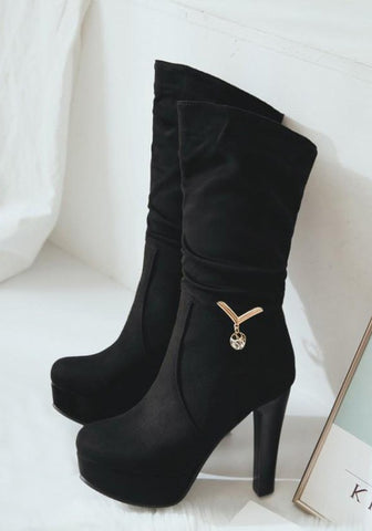Black Round Toe Chunky Metal Decoration Casual Mid-Calf Boots