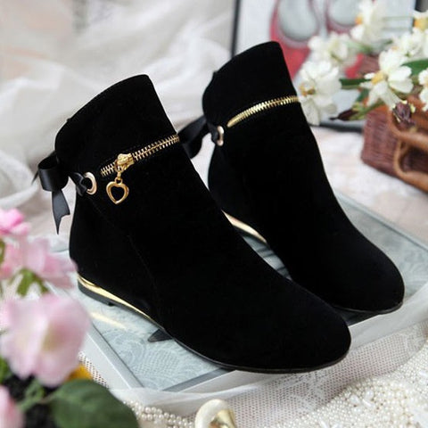 New Women Black Round Toe Flat Bow Zipper Casual Ankle Boots