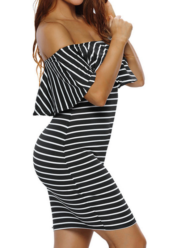 5f856b4a5245 Black-White Striped Print Bandeau Ruffle Off Shoulder Short Sleeve Party  Mini Dress