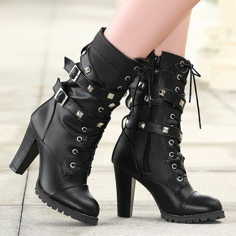 New Women Black Within The Higher Rivet Zipper Fashion Mid-Calf Boots