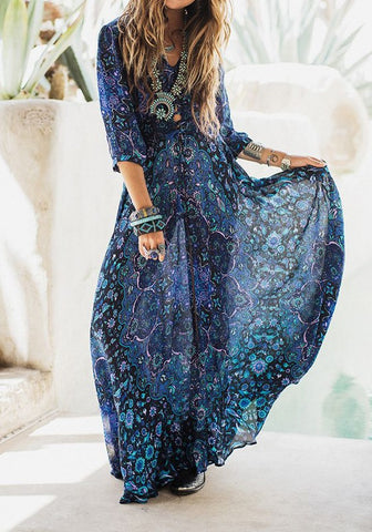 Blue Floral Print V-neck 3/4 Sleeve Fashion Maxi Dress