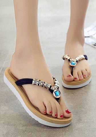 New Women Blue Round Toe Heavy-Soled Rhinestone Beads Casual Slippers