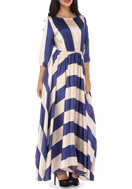 81f20d2e7e0 Cheap Blue-White Striped Print Round Neck 3 4 Sleeve Fashion Maxi ...
