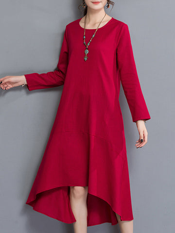 Brief Solid Color Asymmetrical O-NecK Long Sleeve Women Dresses