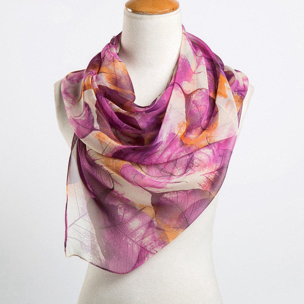 Women Georgette Oil Painting Scarves High Quality Comfortable Full Season Printing Scarf Shawl