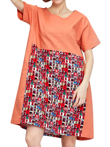 Brief O-neck Pocket Patchwork Printed Dresses For Women