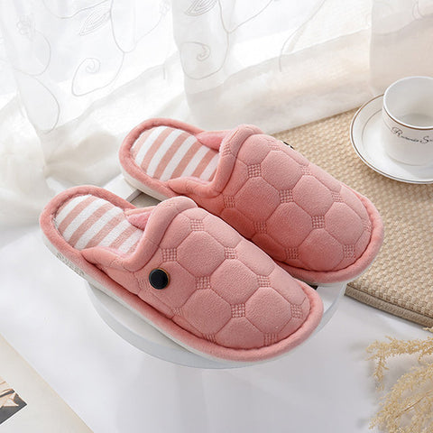 Button Slip On Warm Floor Indoor Flat Home Slippers