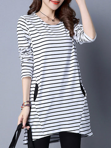 Women Stripe Pocket Long Sleeve O-Neck T-shirts