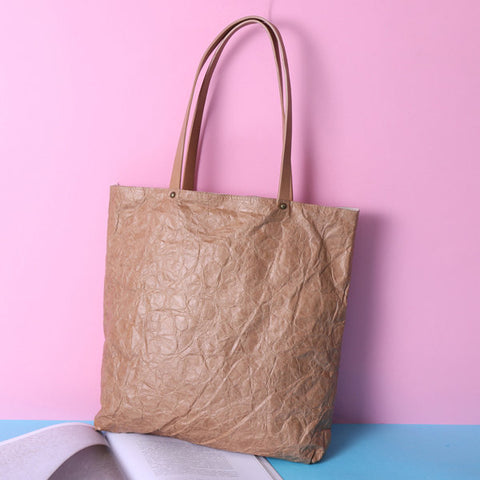 Designer Crumple Kraft Paper Stylish Handbag Casual Book Bags