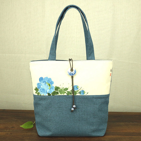 National Style Flower Pattern Canvas Handbag Shoulder Bags