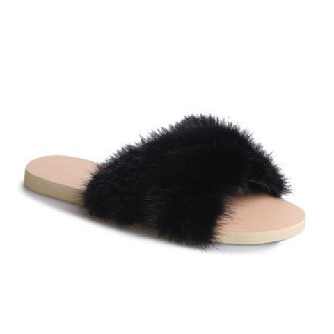Plush Home Soft Comfortable Portable Flat Slippers For Women