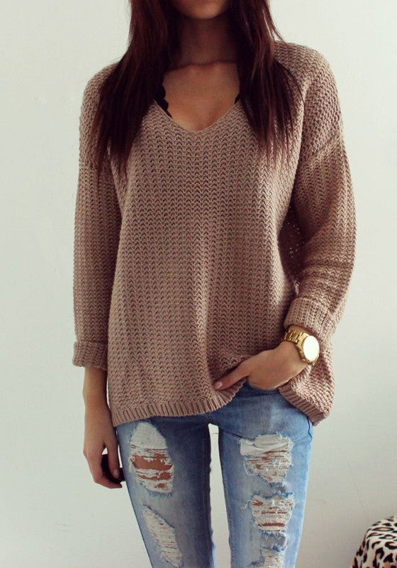 dc8f92566 Cheap Coffee Plain Hollow-out V-neck Long Sleeve Loose Vintage ...