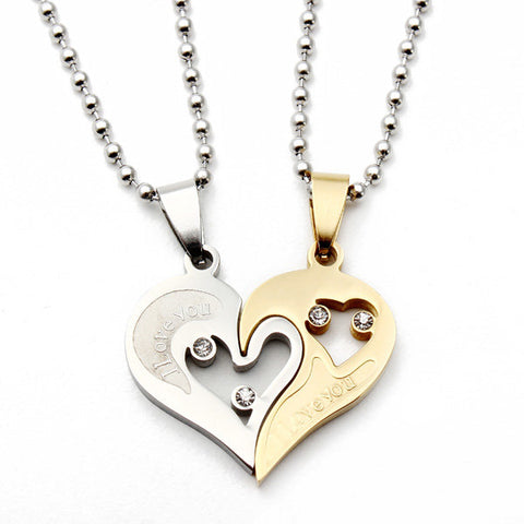 1 Pair I Love You Matching Hearts Lover Necklaces