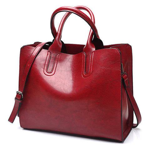 Vintage Oil Wax PU Leather Handbag Large Capacity Shoulder Bags Crossbody Bags For Women
