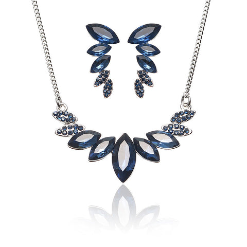 JASSY® Women Elegant Wings Jewelry Set Luxury Platinum Plated Royal Blue Crystal Earrings Necklace