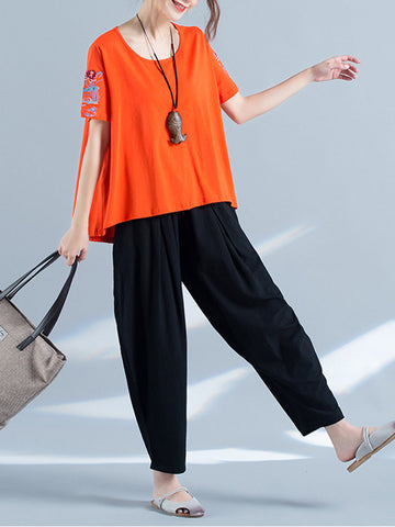 Casual Embroidered Loose Irregular Short Sleeve O-neck Women T-shirt