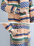 Vintage Loose Striped Dot Button Long Sleeve O-Neck Coat