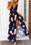 Dark Blue Flowers Spaghetti Strap Cross Back Tie Back Boho Maxi Dress
