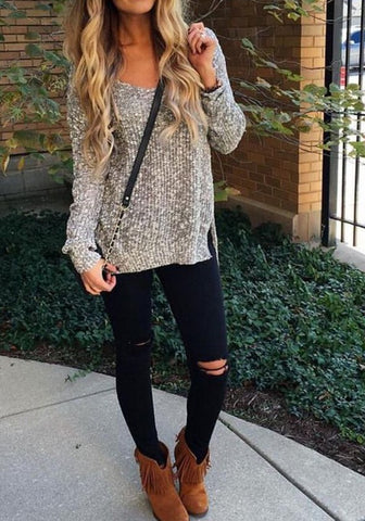 Dark Grey Off Shoulder V-neck Irregular High-low Side Split Oversized Pullover Jumper Sweater