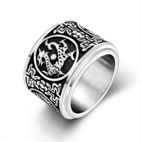 Men's Titanium Steel Ring Chinese 4 Creatures Azure Dragon Vermilion Bird White Tiger Black Tortoise