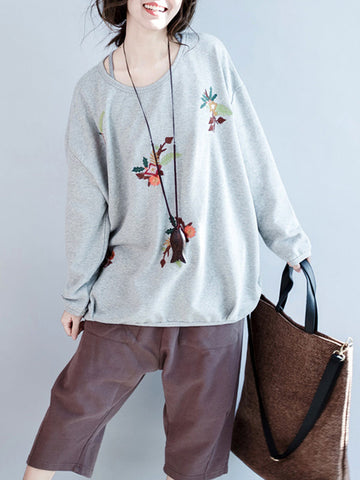 Casual Embroidery Loose Long Sleeve O-neck Women T-shirts