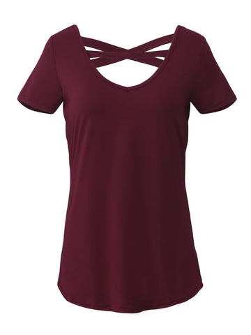 Women V-Neck Short Sleeve Choker T-shirts