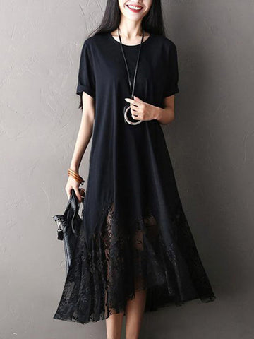 Casual Women Lace Patchwork Short Sleeve O-Neck Maxi Dress