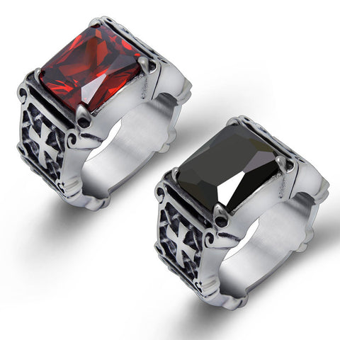 Huge Red Black CZ Stone 316L Stainless Steel Mens Punk Cross Titanium Steel Cubic Zirconia Ring