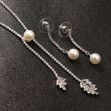 JASSY® Elegant Women Jewelry Set Platinum Plated Pearl Earrings Zirconia Leaf Necklace