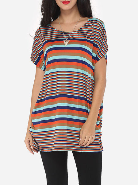 Assorted Colors Printed Striped Modern Round Neck Short-sleeve-t-shirt