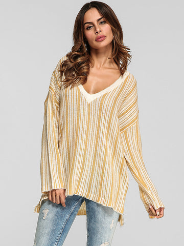 Women Stripe V-neck Long Sleeve Knitted T-shirts